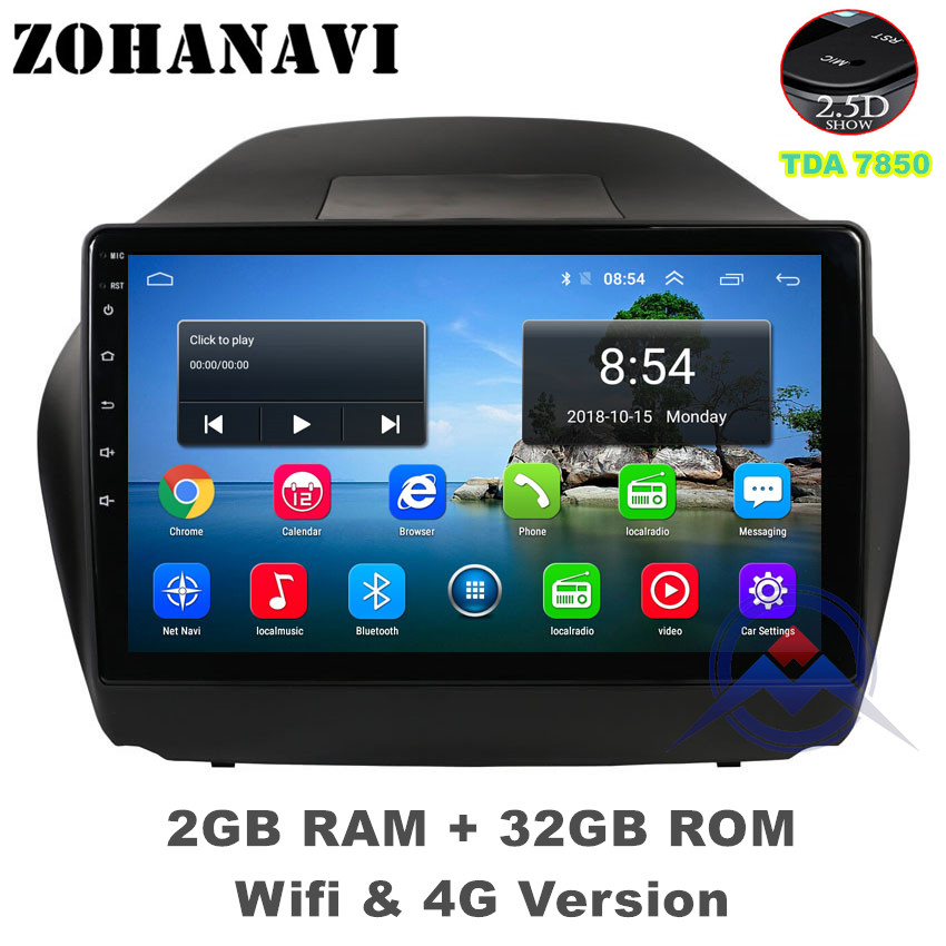 ZOHANAVI 10.2 inch Android 9.0 Car DVD player for Hyundai Tucson IX35 2011-2014  car radio audio with maps
