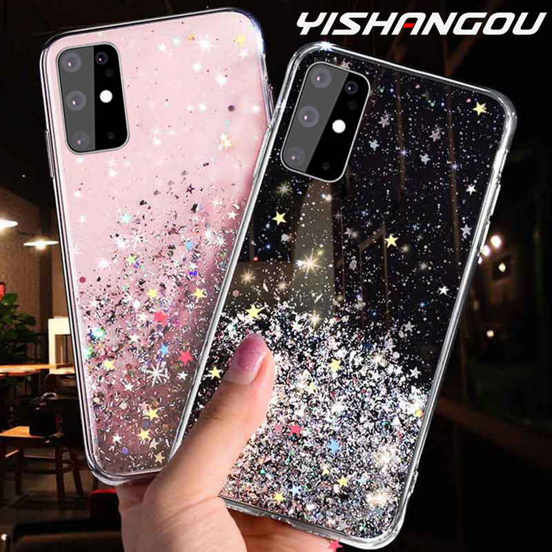 Luxury Glitter Star Case For Samsung Galaxy S20 A51 A70 A50 A10 A20 A30 A80 A10S A20E A750 Note 10 9 8 S10 S9 S8 Plus S10E Cover
