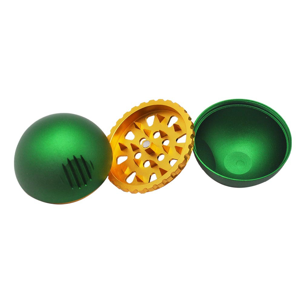 New 3 Piece metal ball type grinding machine 63mm zinc alloy grinder herb grinder With Pollen Scraper 3