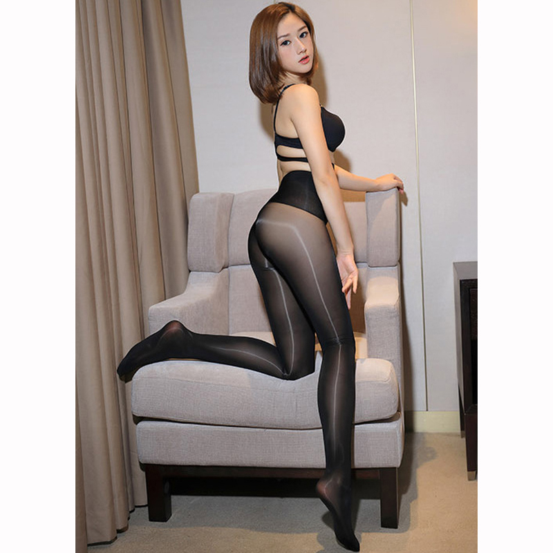 Oil Glossy Shiny High Waist Seamless Pantyhose Hot Sexy Transparent Thin Nylon Body Stockings Leggings Clubwear Pants Capris
