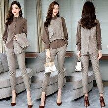 Весенние офисные комплекты из 3 предметов, женская блузка с длинными рукавами+ жилет+ брюки, комплекты, костюмы, повседневные корейские элегантные женские комплекты, Femme