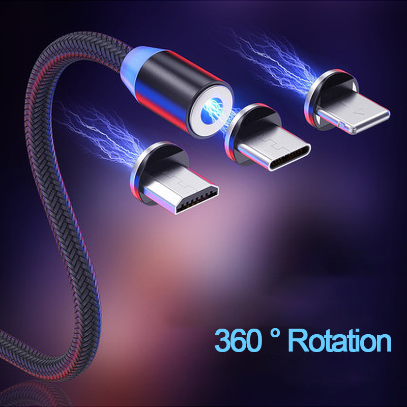 3A LED Magnetic Micro USB Type C Fast Charging Cable For iPhone X Samsung S9 Android Mobile Phone Magnet USBC 8 Pin Charger Cord image