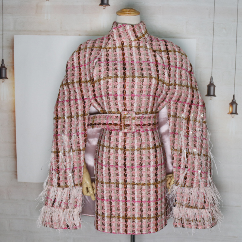 Women Winter Bats Cape Coat Cardigan Tweed Jacket Patchwork Feathers Diamonds Plaid Turtleneck Cloak Sleeve Embellished Clothes - 2