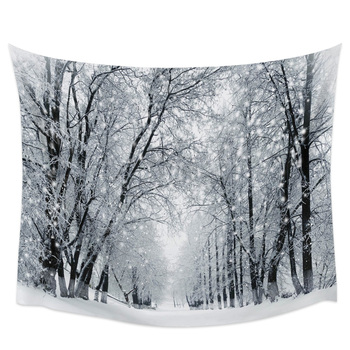 Forest Snow Winter Scenery Scenery Wall Tapestry Cover Beach Towel Home Decoration Wall Hanging for Bedroom Living Room