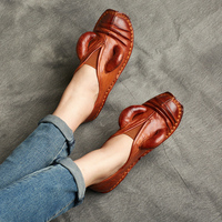 Women Leather Flats Brand Shoes Women Spring 2020 OX HOrn Style Retro Loafers Women Lazy Shoes Handmade Genuine Leather Flats