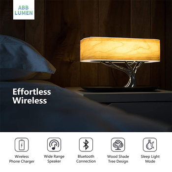 Modern led table lamp for bedroom dimmable bluetooth Speaker phone Charger 2