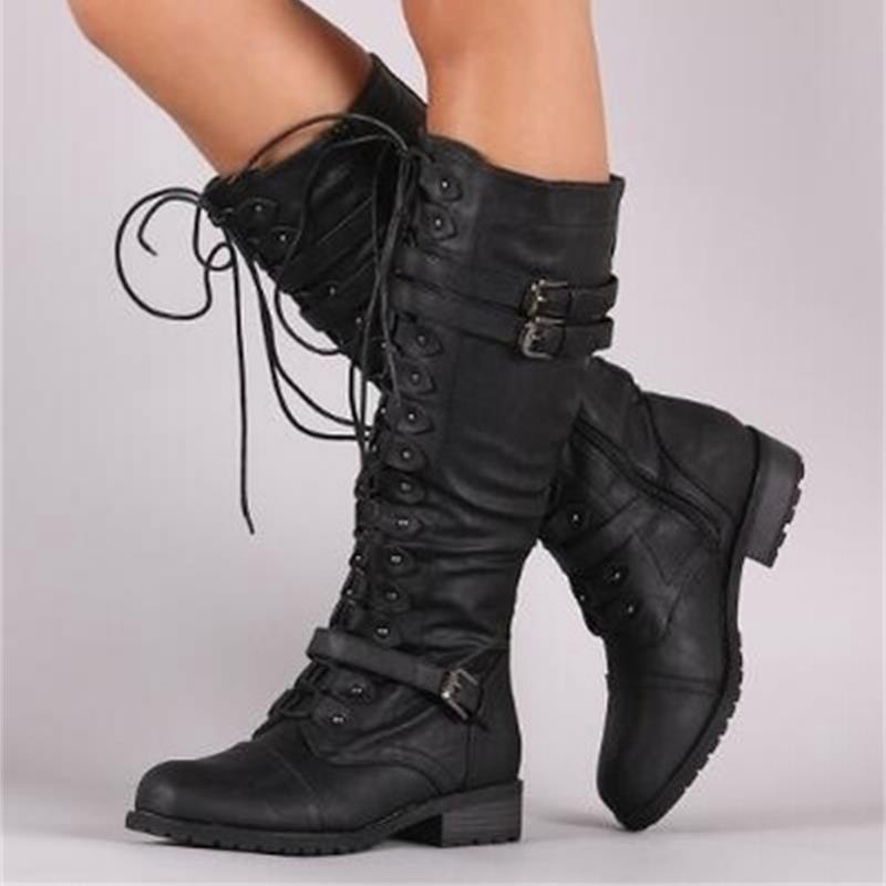 DAHOOD New Women Mid Calf Boots Autumn Winter Lace Up Vintage Flat Shoes Sexy Steampunk Leather Retro Buckle Ladies Snow Boots