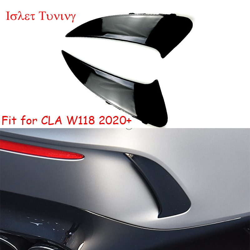W118 New Rear Splitter Canards for Mercedes-benz CLA Class W118 CLA35 CLA45 CLA180 CLA200 <font><b>CLA250</b></font> Trunk Side Fender Lips 2020+ image