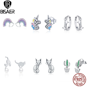 BISAER Wholesale 925 Sterling Silver Earrings Women Cartoon Mouse Animal Love Heart Sparkling Minnie Silver 925 Jewelry 1