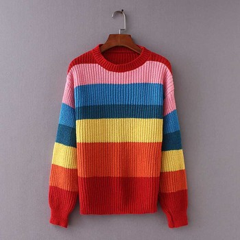 NiceMix 2019 Women's Sweater Rainbow Color Block Striped Autumn Sweaters and Pullovers Jumper Long Sleeve Knitwear Loose Knitted color block striped jumper