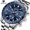 BENYAR мужские часы люксовый бренд из нержавеющей стали водонепроницаемый Спортивный Кварцевый Хронограф военные часы мужские часы Relogio Masculino