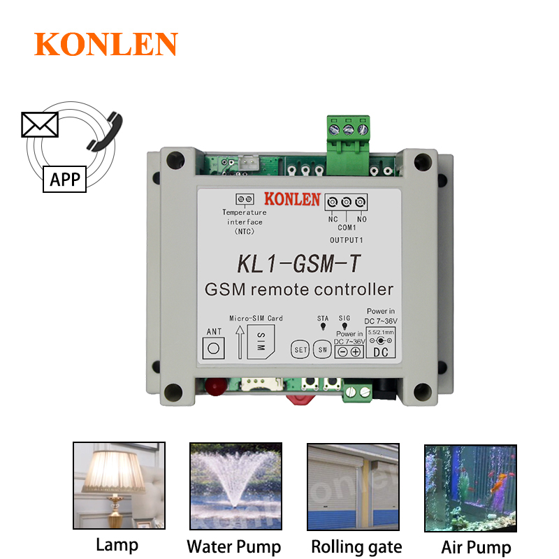 Смарт-реле KONLEN с GSM-управлением, датчик температуры, дистанционное управление с помощью SMS-звонка, домашний автоматический выключатель, Откр...