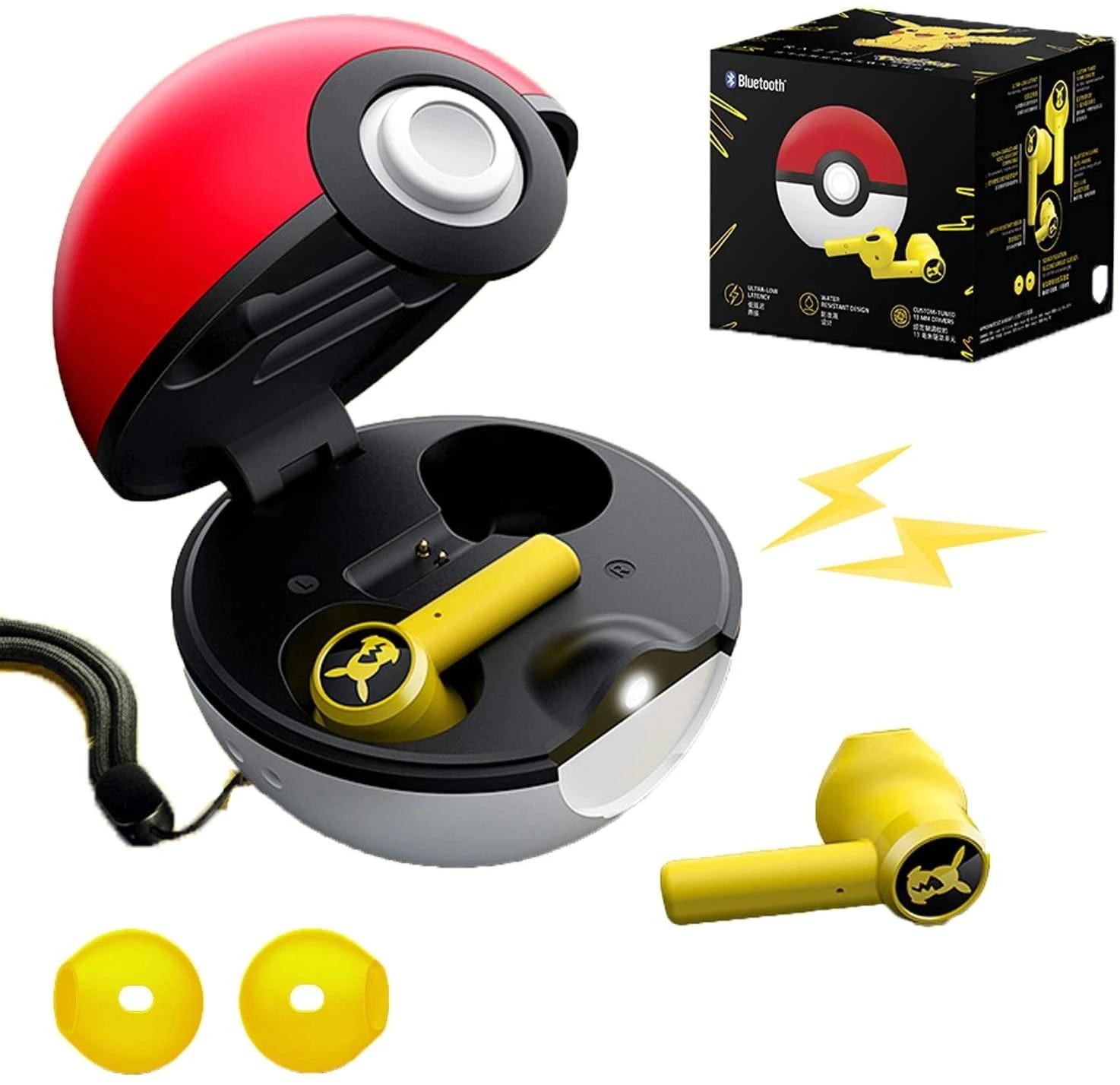 2021 Новая гарнитура Bluetooth Poké-Mon-гарнитура Pikachu Bluetooth 5,0 с сенсорным управлением, дизайн кармана для зарядки Pokeball