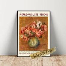 Pierre-auguste renoir exhibition poster, auguste renoir anêmonas pintura a óleo, arte da parede da folha da flor do vintage, cópias do buquê do vaso