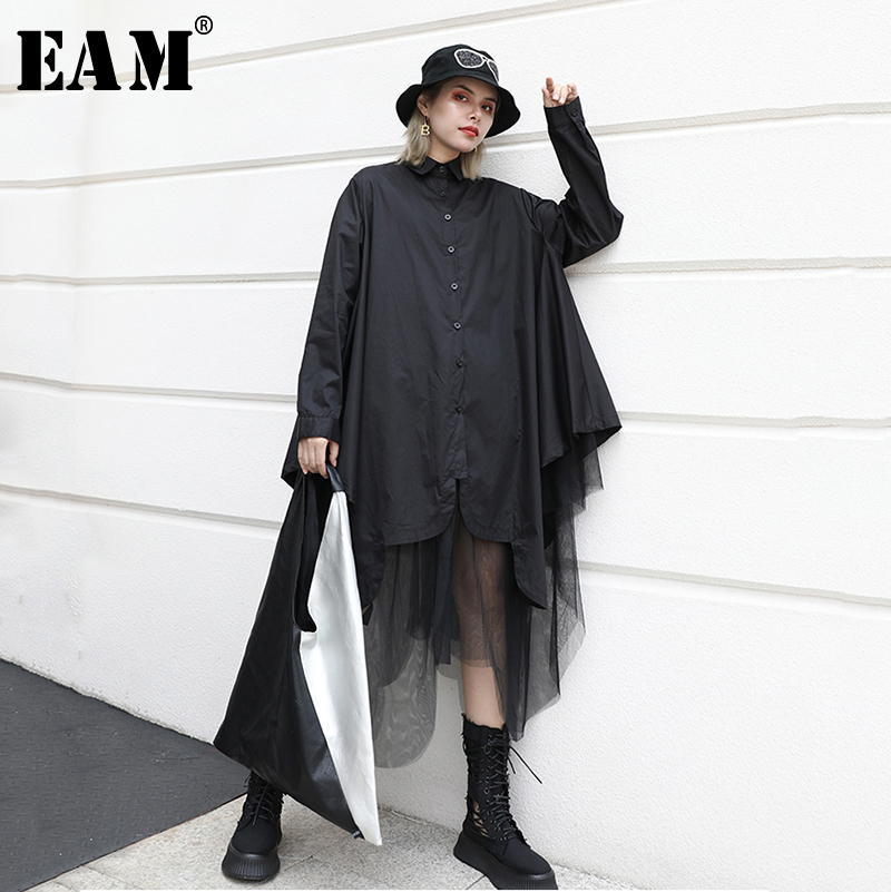 [EAM] Women Black Mesh Spliced Oversize Blouse New Stand Long Sleeve Loose Fit Shirt Fashion Tide Spring Autumn 2020 1A534