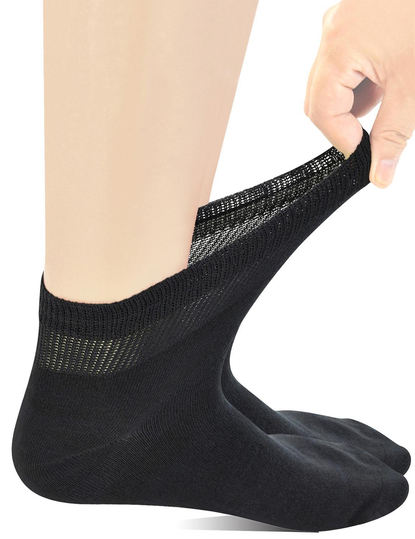 Yomandamor мужские супер-широкие диабетические носки Coolmax с бесшовным носком, 5 пар