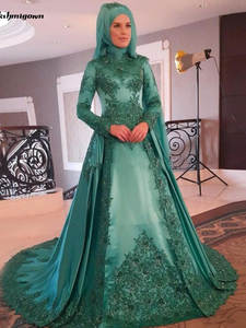 Wedding-Dresses Beaded Lace Applique Long-Sleeve Muslim Boho Green Luxury with Vestido-De-Noiva