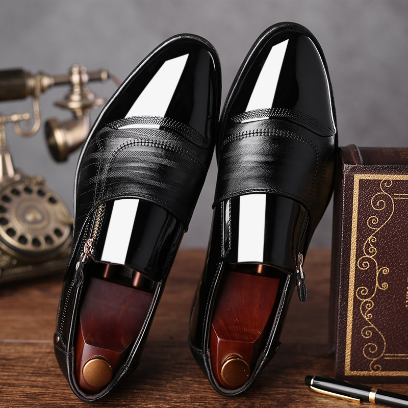 GOXPACER Shoes Men New Business Men Flats Formal Leather Size Zipper British Style Pointed Toe Fashion Patchwork Free Shipping