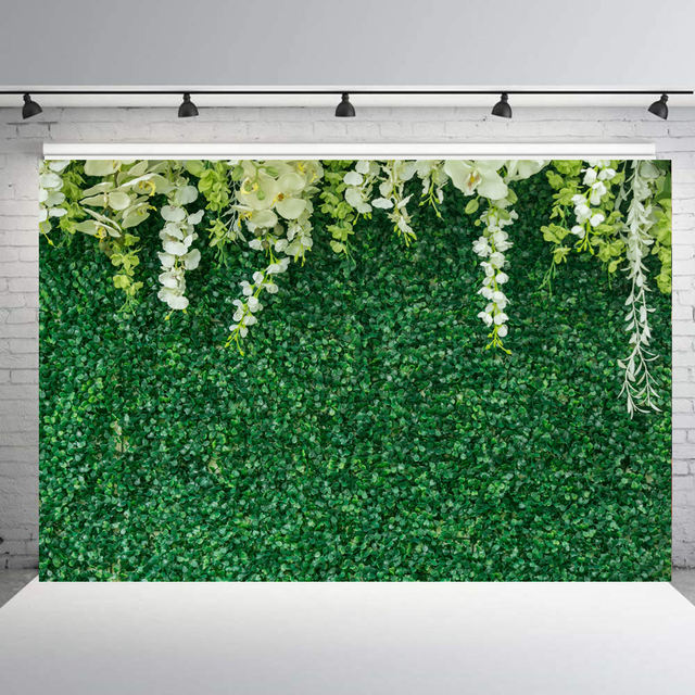 Photo Background with Green Leaves Printed