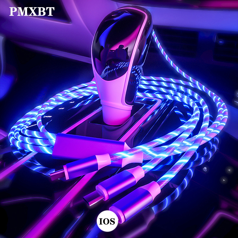 <font><b>3</b></font> <font><b>in</b></font> <font><b>1</b></font> Flowing Colors LED Glow USB Charger <font><b>Cable</b></font> Micro USB Type C Charging Cord lighting For iPhone Xiaomi Android phone Charge image