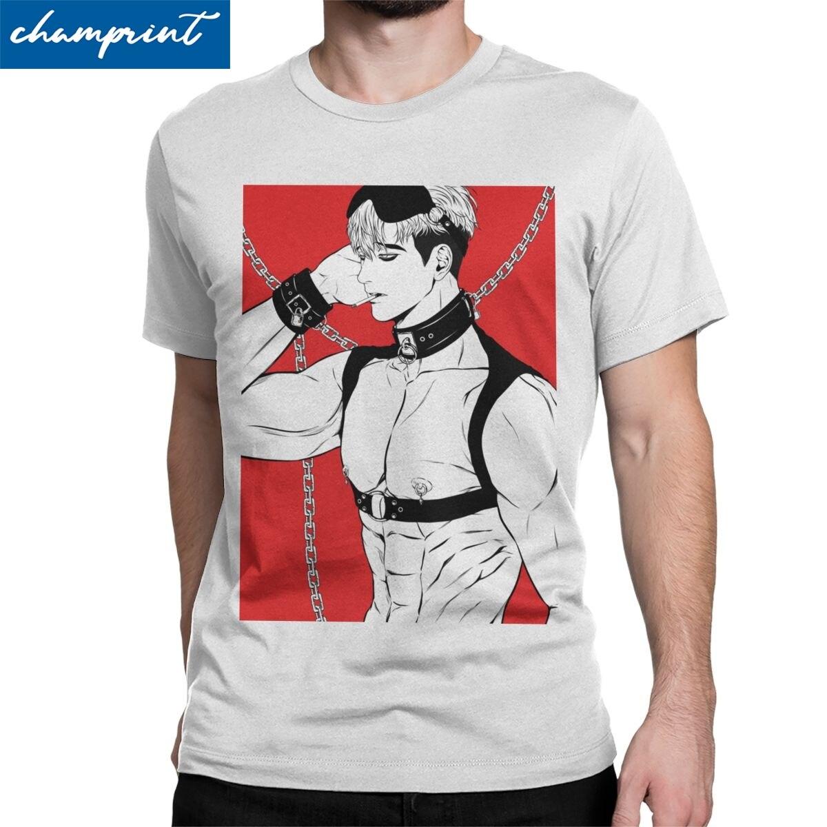 Sangwoo Men T Shirts Killing Stalking Korean Yaoi Manga Fashion Tee Shirt Short Sleeve O Neck T-Shirts 100% Cotton Gift Clothes