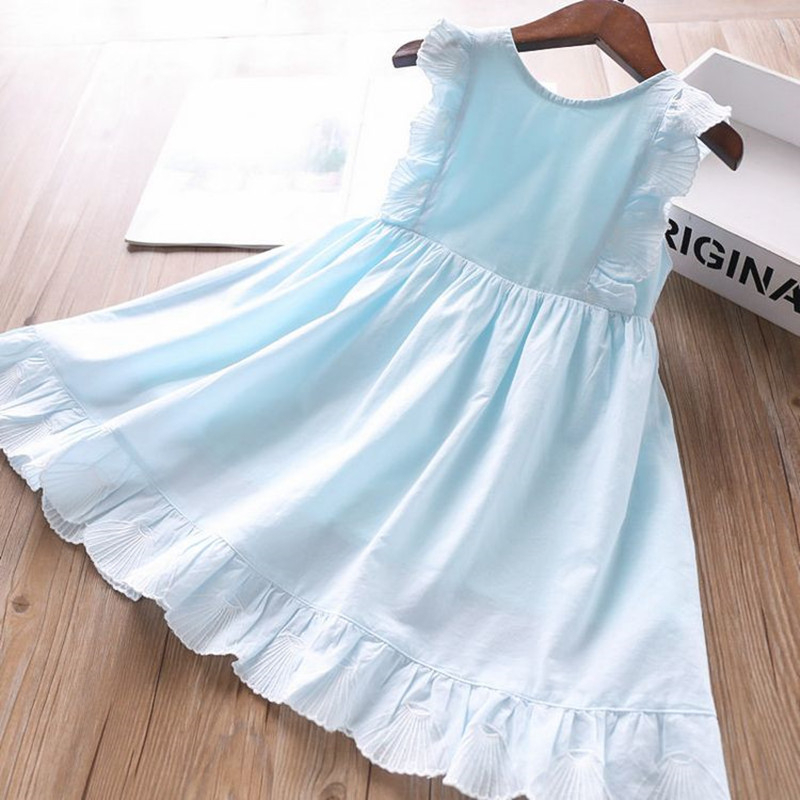 Summer Baby Girls Dresses Solid Plain Cotton Ruffles Casual Blue Pink Sleeveless Children's Clothes