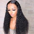 Парики с глубокой волной для женщин, бразильские кудрявые натуральные волосы с предварительно выщипанными волосами, с прозрачными кружева...