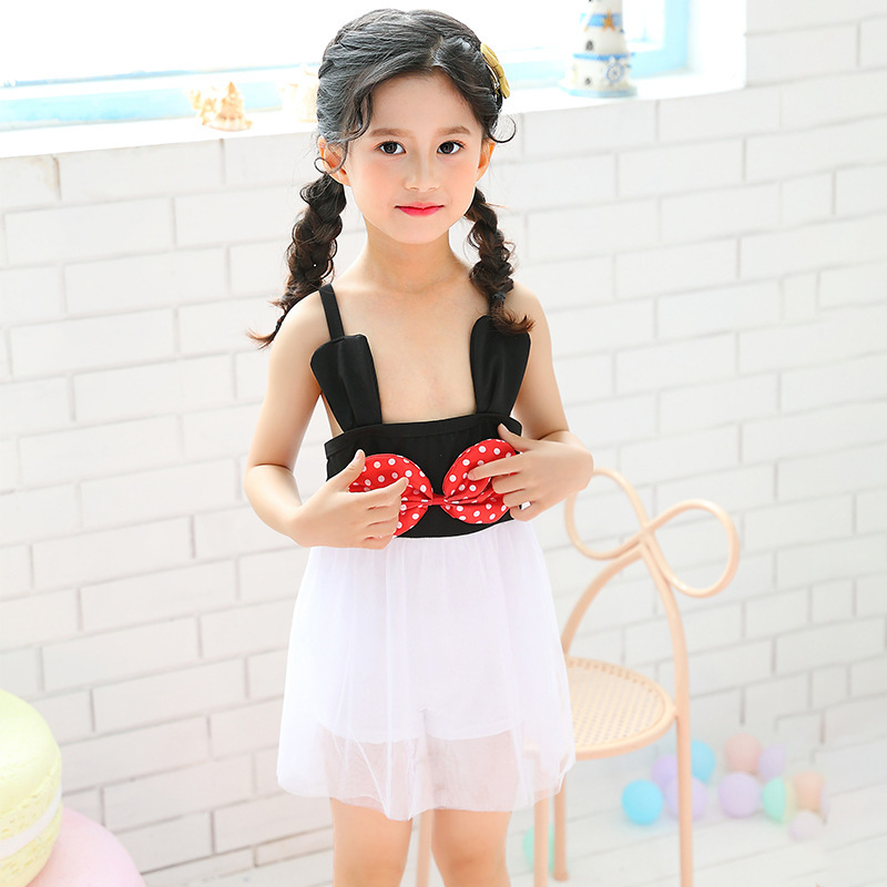 INS New Products Sweet One-piece Swimsuit For Children GIRL'S Princess Baby Bow Tutu Tour Bathing Suit Wholesale
