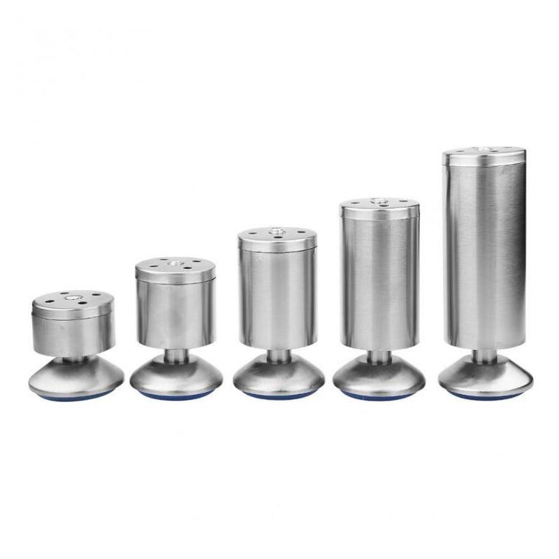 4pcs/set Height Adjustable Furniture Legs Feet Silver Stainless Steel Table Bed Sofa Level Feet Cabinet Legs