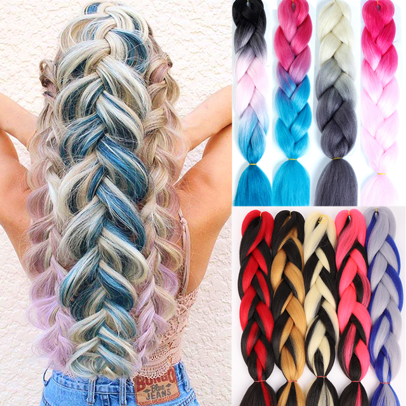 "LUPU 24"" Jumbo Braids Long Ombre Bundle Synthetic Braiding Hair For Women Crochet Blonde Pink Hair Extensions Kanekalon"