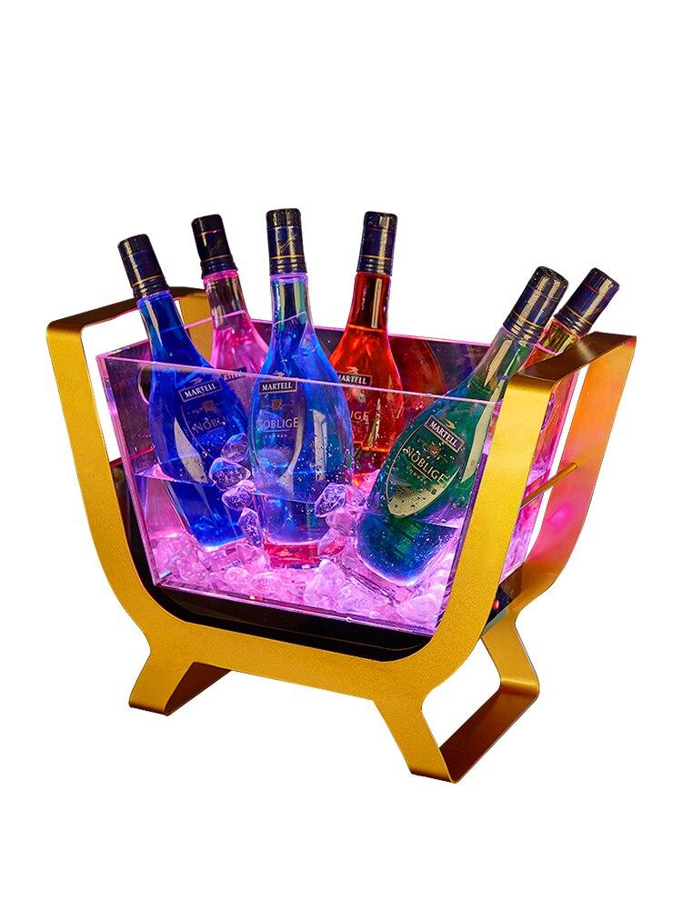Barre créative lumière seau à glace Led charge acrylique Transparent en acier inoxydable casier à vin 6 bâton Champagne bateau