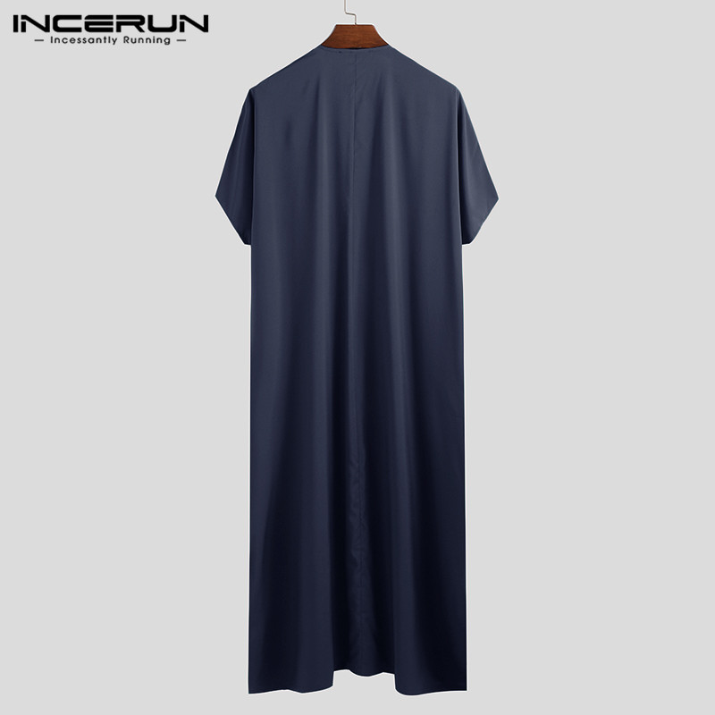 INCERUN Jubba Thobe Men Islamic Arabic Kaftan Solid Short Sleeve Loose Retro Robes Abaya Middle East Muslim Clothing Plus Size 7 5