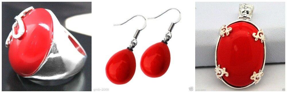 Bague en argent Sterling 925 Marcasite en laque sculptée rouge pour femme (#7-10) boucles d'oreilles et ensembles de bijoux Pandent