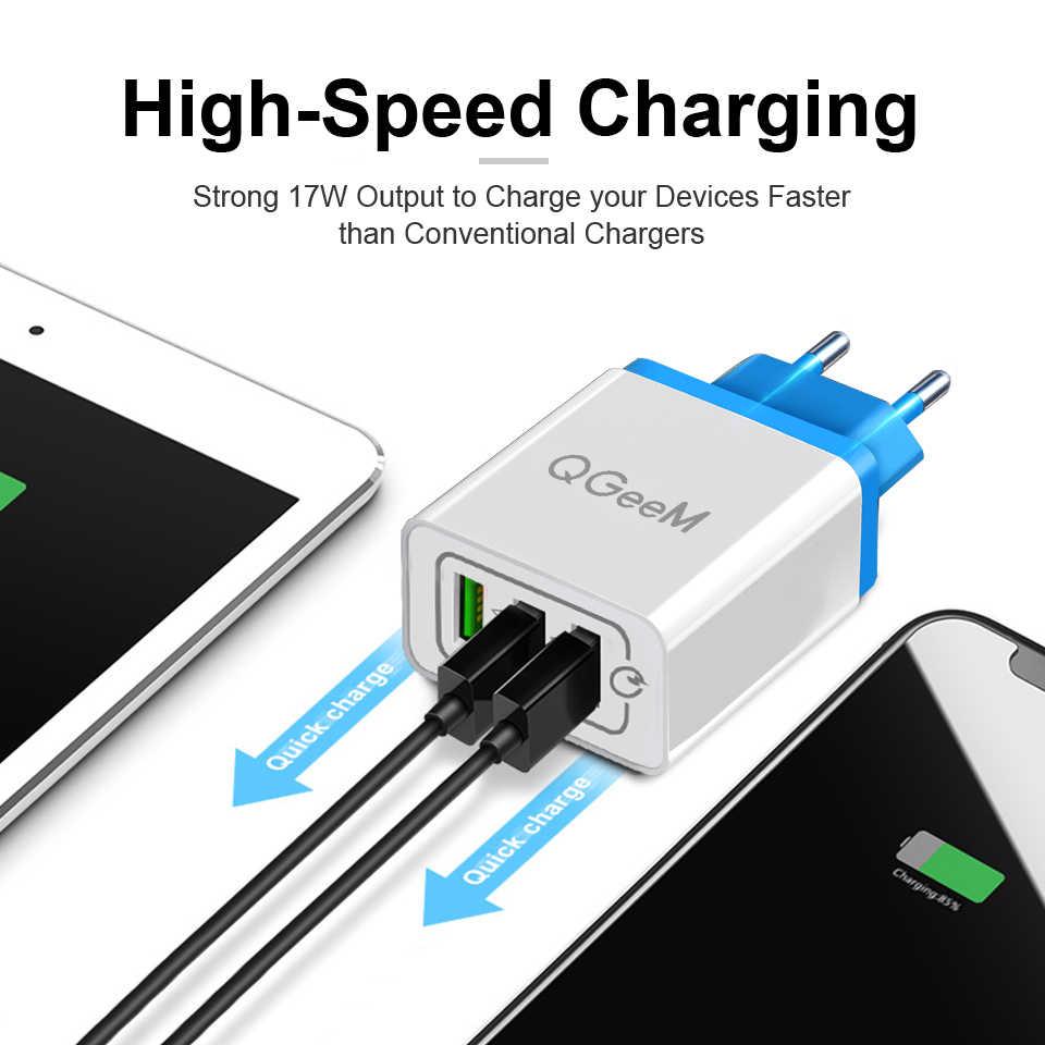 Qgeem 3 USB Sạc Nhanh 3.0 Nhanh USB Sạc Tường Di Động Sạc Di Động QC 3.0 Cho Xiaomi iPhone X EU Phích Cắm US