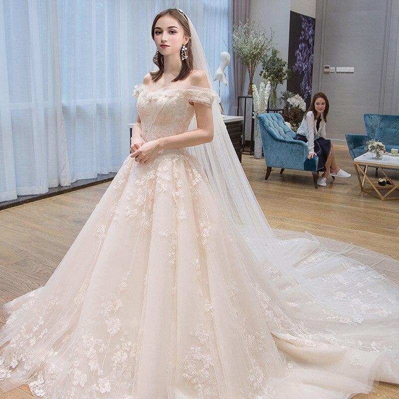 Кружевное платье для свадьбы во французском стиле с аппликацией, платье для маленькой невесты с плеча хвоста, платье из тюля