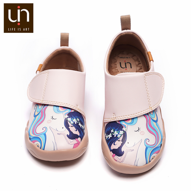 UIN ילדה וunicorn אמנות צבוע ילדים אופנה ורוד נעלי מיקרופייבר עור סניקרס עבור בנות/בני נוחות נעלי סתיו /אביב