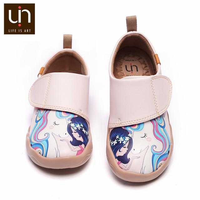 UIN فتاة و يونيكورن الفن رسمت الاطفال موضة أحذية الوردي ستوكات أحذية رياضية من الجلد للفتيات/الفتيان أحذية الراحة الخريف/الربيع