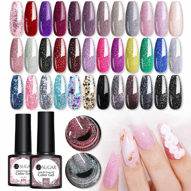 UR Gula 7.5 Ml Glitter Gel Cat Kuku Glitter Mengkilap Payet Kuku UV Rendam Off LED Gel Pernis Kuku Seni gel Varnish