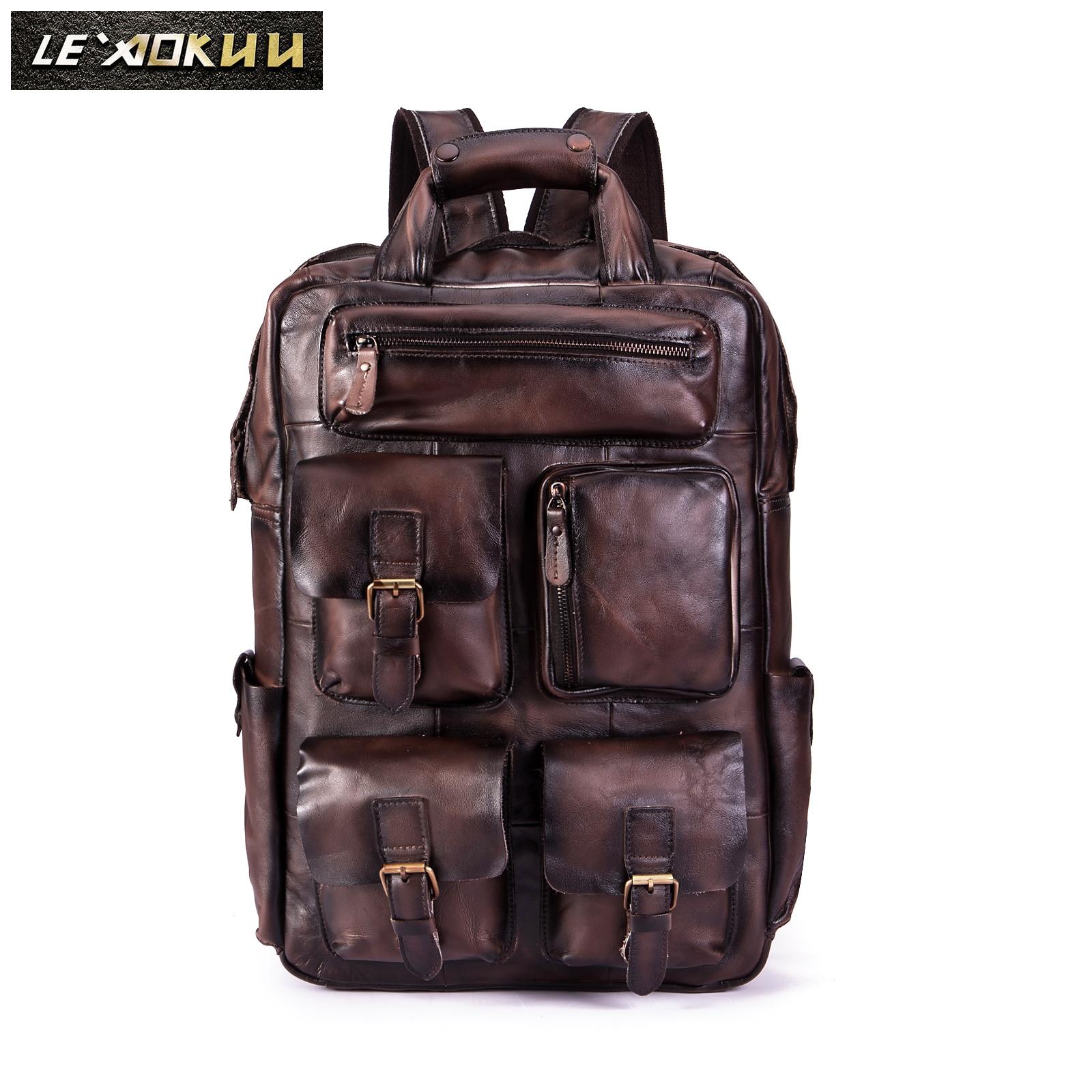 جودة أزياء والجلود سفر كلية حقيبة مدرسية تصميم الذكور الثقيلة كبيرة على ظهره Daypack حقيبة الطالب حقيبة لابتوب الرجال 1170 dc-في حقائب الظهر من حقائب وأمتعة على  مجموعة 1