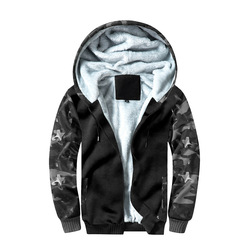 MENS WEAR New Style Hooded Camouflage Color Panel Thick Jacket Hoodie