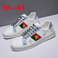 2019 Genuine Leather 36~44 Designer Chunky Platform White Sneakers Luxury Fashion Bee Women Shoes 2019 Woman Men Platform Flats