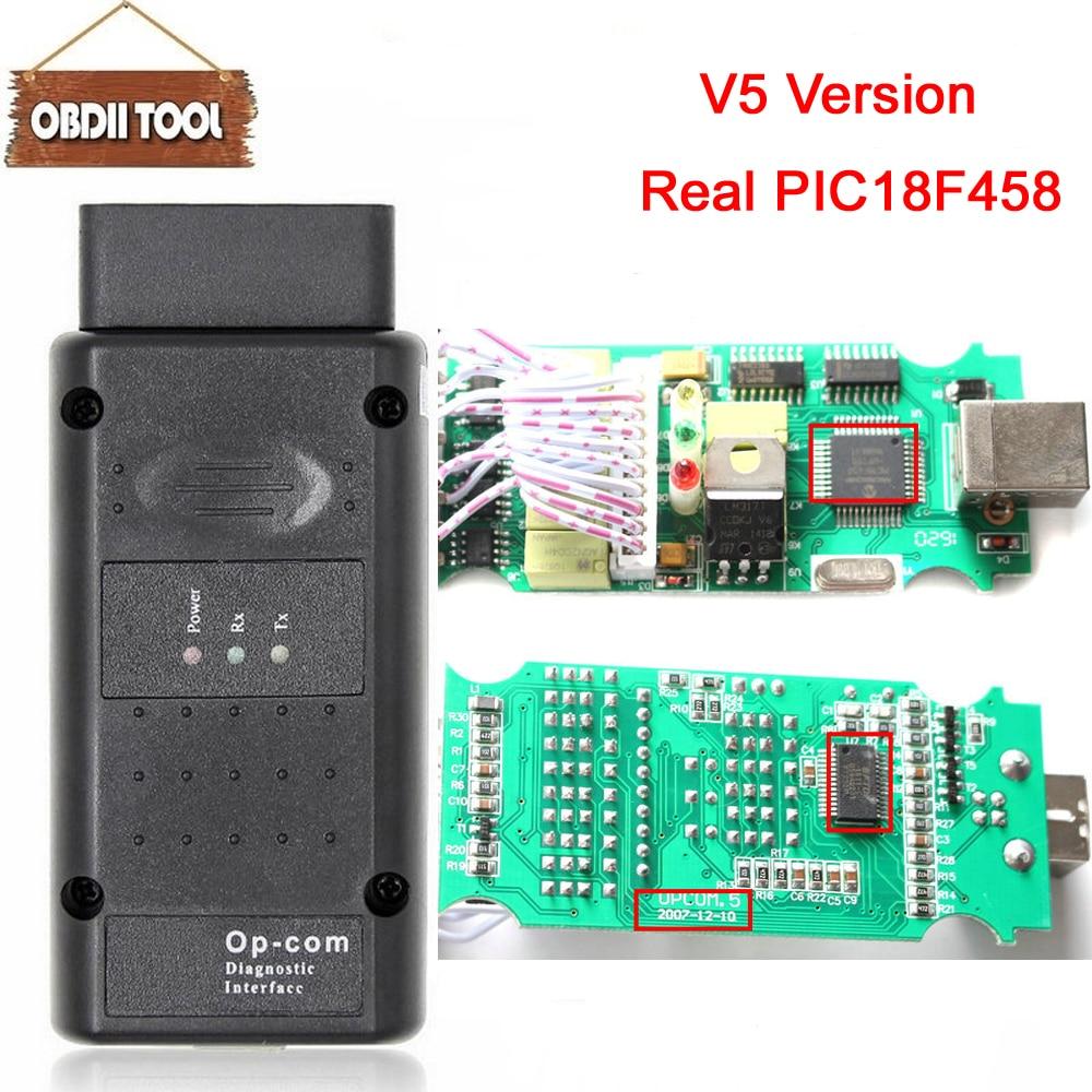 Um + + + qualidade opcom v5 versão com pic18f458 real ftdi chip firmware 1.59 / 1.99 OP-COM para opel diagnostic-ferramenta op com