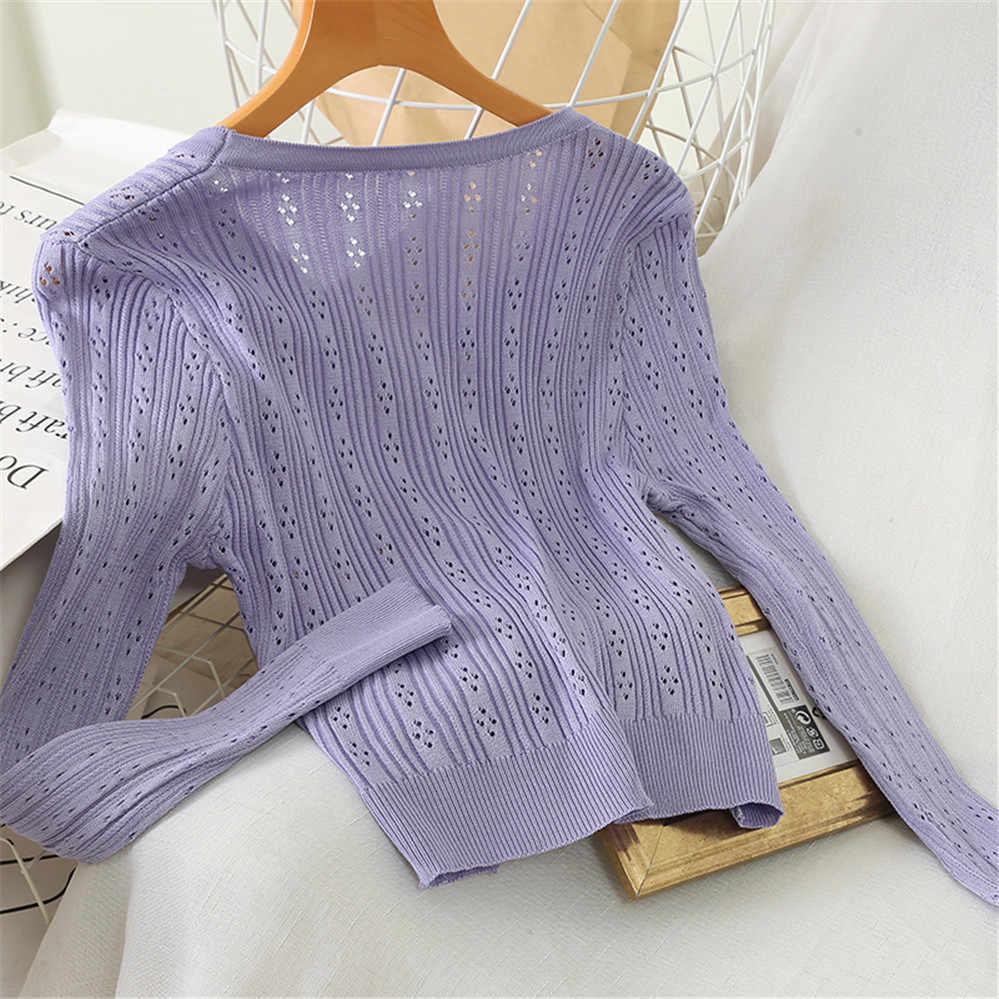 2020 estate nuovo solido sottile delle donne cardigan button con scollo a v a maniche lunghe lavorato a maglia della signora elegante maglioni outwear coat tops PZ3293
