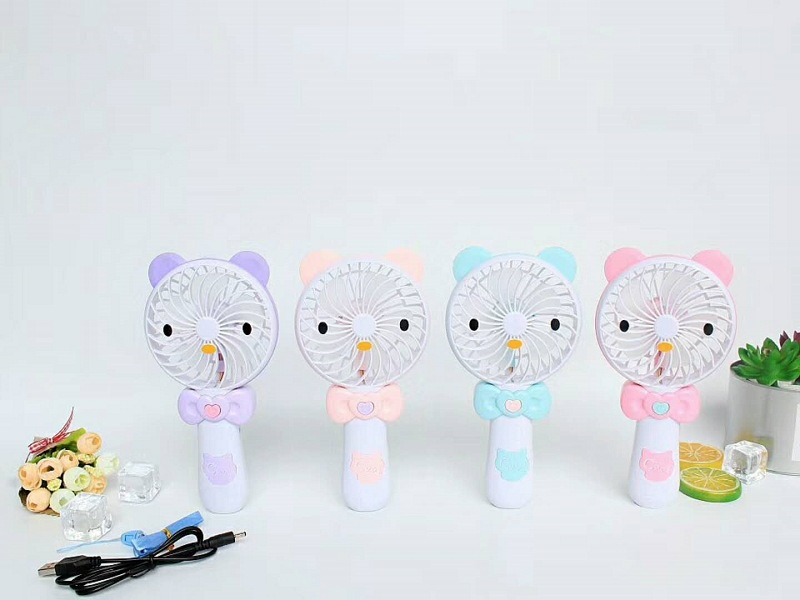 Cartoon Bear Hand-Held USB Small Fan Portable Small Electric Fan Chargeable Mini Dormitory Fan Batch