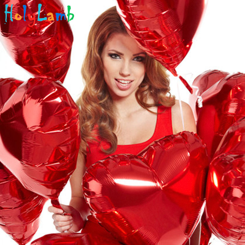 10Pcs/Lot 18-inch Heart-shaped Birthday Balloons Children Foil Balloons Happy Birthday Party Decorations Kids Ballon Cartoon