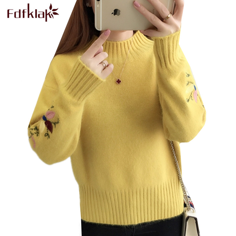 Fdfklak Thick Warm Women Sweater Autumn Winter Knit Top Ladies Sweaters Turtleneck Pullover Sweter Embroidery Wool Pull Tops