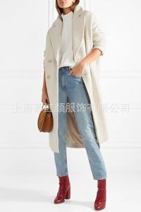Image 3 - Beyaz Katı Uzun Yün Karışımı Bayan Ceket Vintage kadın ceketi Geniş waisted Kruvaze Kore Bayan Moda Ceket