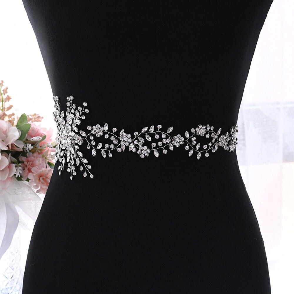 YouLaPan Rhinestone Belt Wedding Belt Wedding Belt for Women Dresses Silver Diamond Wedding Belt Flower Girl Sash Belt SH242