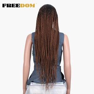 Image 5 - Свободный плетеный синтетический кружевной передний парик для женщин, бесплатная пробежка, красный Омбре, коричневый конский хвост, вязанная коса, волосы, новый стиль, мода