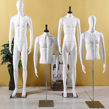 2style ABS plastic male mannequin Half body model display stand wedding dress clothing store Iron base dummy platform 1pc D144